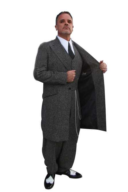 3 Piece Charcoal Tweed Zoot Suit