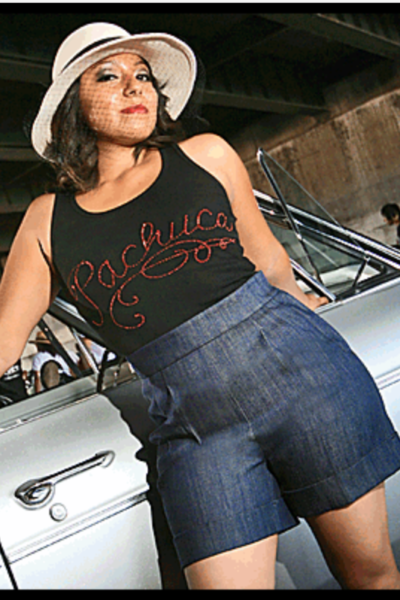 High Waisted-- Vintage Style HOLLYWOOD SHORTS-Front