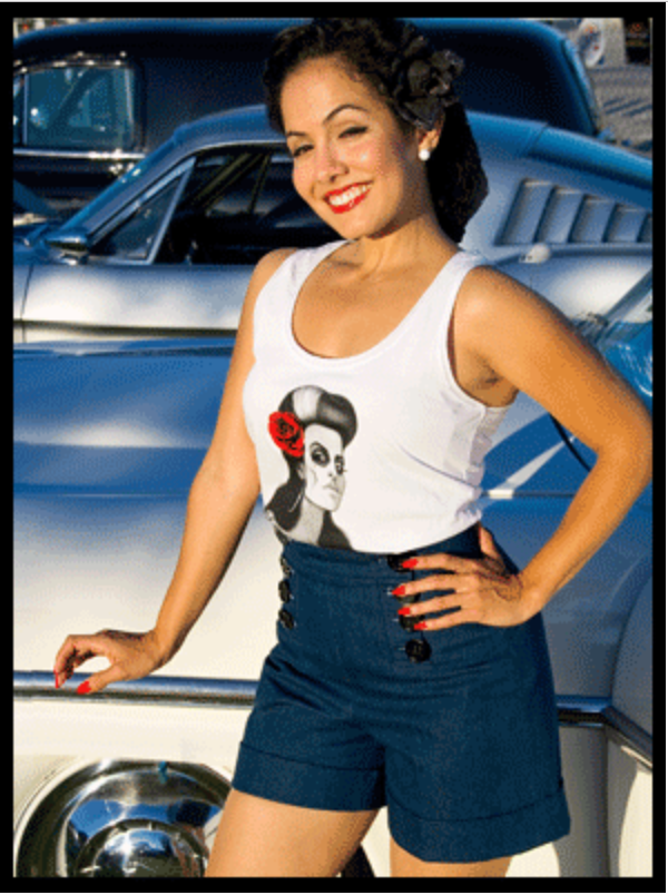 High Waisted-- Vintage Style SAILOR SHORTS-Front