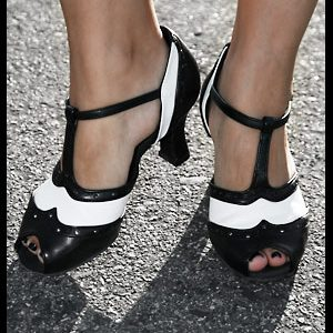 Open-Toe Black & White Dance Shoes